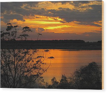 Orange Blue Sunset Wood Print