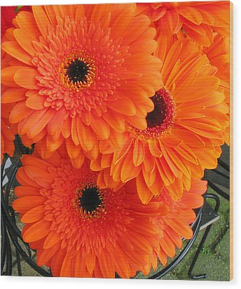 Orange Burst Wood Print by Elvira Butler