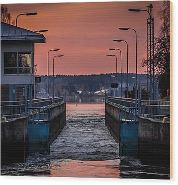Wood Print featuring the photograph Orange Canal by Matti Ollikainen