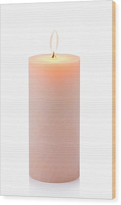 Orange Candle Wood Print by Atiketta Sangasaeng