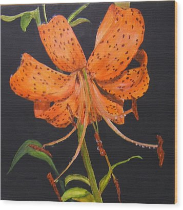 Orange Day Lilies Wood Print
