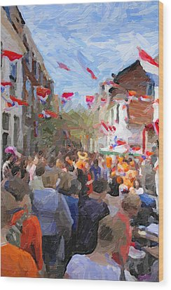 Orange Day Party Wood Print by Martin  Fry