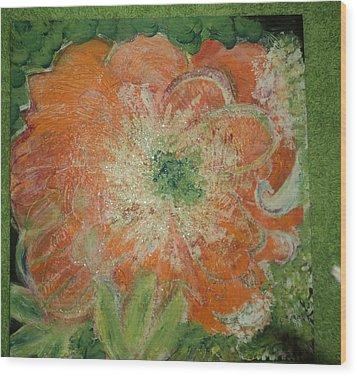 Orange Floral Fantasy Wood Print by Anne-Elizabeth Whiteway