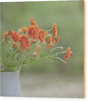Orange Flower Wood Print by Pamela N. Martin