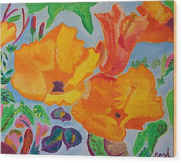 Orange Flowers Reaching For The Sun Wood Print by Meryl Goudey