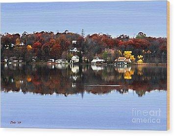 Orange Lake Wood Print by Dale   Ford