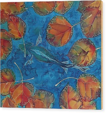Orange Leaves And Fish Wood Print by Carolyn Doe