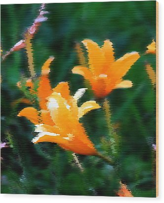 Orange Lilies Wood Print by Elizabeth  Doran