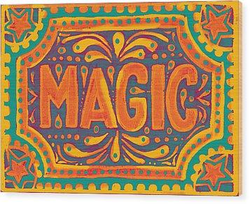 Wood Print featuring the painting Orange Magic  by Nada Meeks
