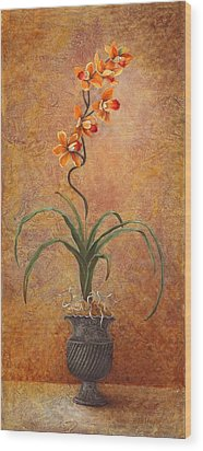 Wood Print featuring the painting Orange Orchid by Pam Talley