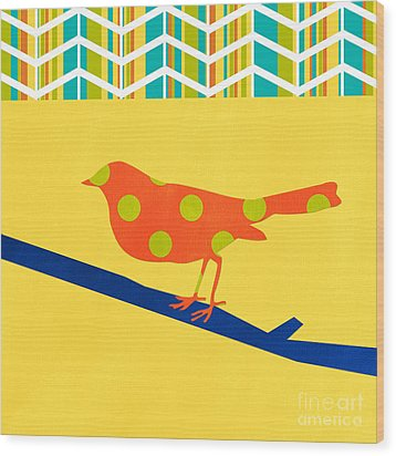 Orange Polka Dot Bird Wood Print by Linda Woods