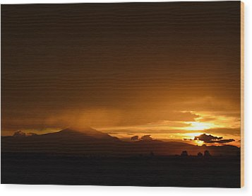 Orange Rain Wood Print by Linda Larson