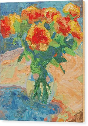 Orange Roses In A Glass Vase Wood Print
