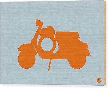 Orange Scooter Wood Print by Naxart Studio