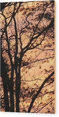 Orange Silhouette Wood Print