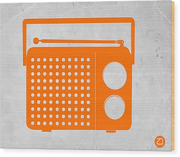 Orange Transistor Radio Wood Print by Naxart Studio