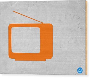 Orange Tv Vintage Wood Print by Naxart Studio