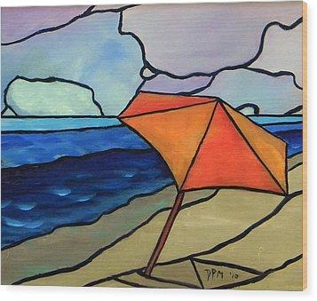 Orange Umbrella At The Beach Wood Print by David McGhee