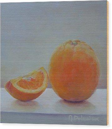 Orange Un Quart Wood Print by Muriel Dolemieux