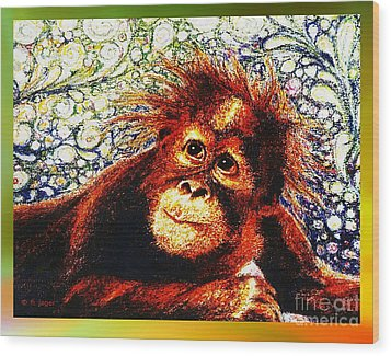 Wood Print featuring the drawing Orangutan Baby by Hartmut Jager