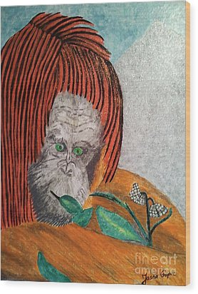 Wood Print featuring the painting Orangutan by Jasna Gopic