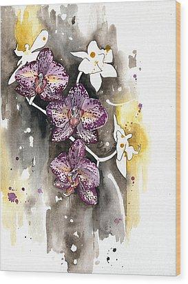 Wood Print featuring the painting Orchid 13 Elena Yakubovich by Elena Yakubovich