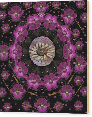 Orchids And Fantasy Flowers Wood Print by Pepita Selles