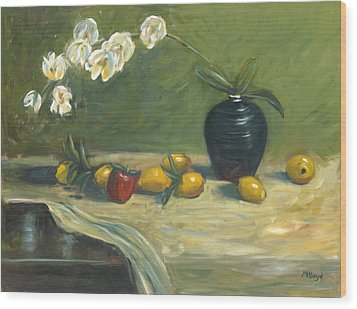 Wood Print featuring the painting Orchids And Vase by Marlyn Boyd