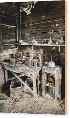 Ore Assay Shop Work Bench - Molson Ghost Town Wood Print by Daniel Hagerman