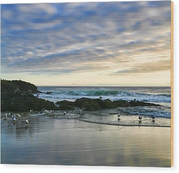 Oregon Coast At Dusk Wood Print by Bonnie Bruno