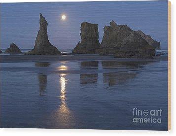 Oregon Coast Wood Print by John Shaw and Photo Researchers