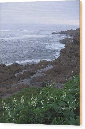 Wood Print featuring the photograph Oregon Coast Near Depoe Bay by Karen Molenaar Terrell