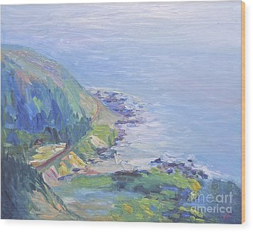 Wood Print featuring the painting Oregon Coastline by Barbara Anna Knauf