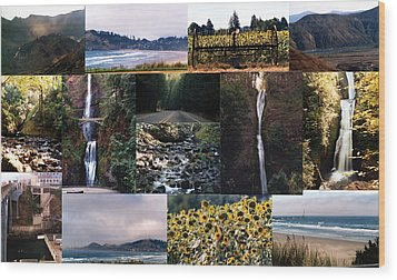 Oregon Collage From Sept 11 Pics Wood Print by Maureen E Ritter