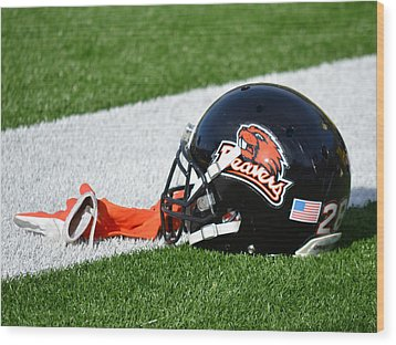 Oregon State Helmet Wood Print by Replay Photos