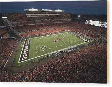 Oregon State Night Game At Reser Stadium Wood Print by Oregon State University