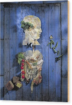 Organic Food, Conceptual Image Wood Print by Paul Biddle