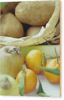 Organic Fruits And Vegetables Wood Print by David Munns