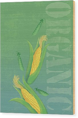 Organic Produce Illustration Wood Print by Don Bishop