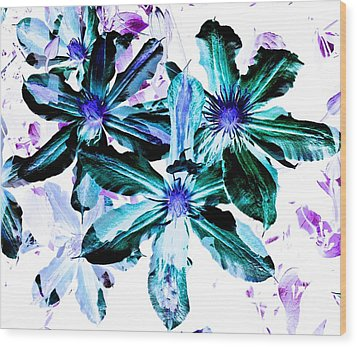 Organic Techno Flowers Wood Print
