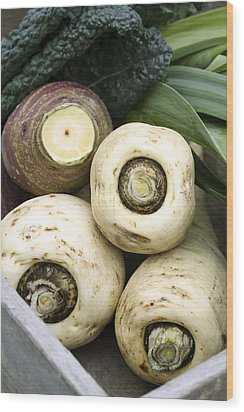 Organic Winter Vegetables Wood Print by Maxine Adcock