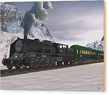 Wood Print featuring the digital art Orient Express by John Pangia