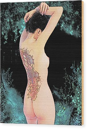 Oriental Beauty Wood Print
