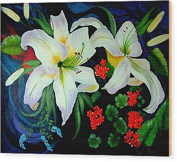 Oriental Lily Wood Print by Fram Cama