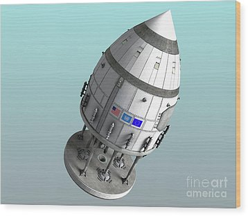 Orion-drive Spacecraft In Standard Wood Print by Rhys Taylor