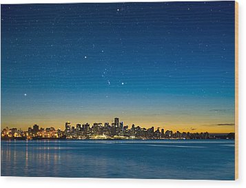 Orion Over Vancouver, Canada Wood Print by David Nunuk