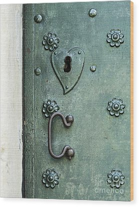 Wood Print featuring the photograph Ornamental Metal Doors In Teal by Agnieszka Kubica