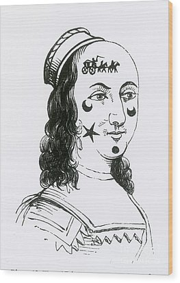 Ornamental Patches On Face, 17th Century Wood Print by Photo Researchers
