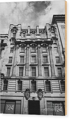 Ornate Facade Of 124 St Vincent Street Refurbished Into Modern Office Space Glasgow Scotland Uk Wood Print by Joe Fox