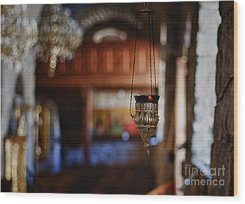 Orthodox Church Oil Candle Wood Print by Stelios Kleanthous